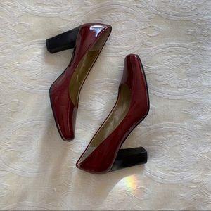 Square Toe Metallic Res Heels ( Never Worn )